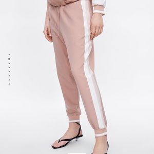 Zara Pink Jogging Pants With Side Stripe Joggers